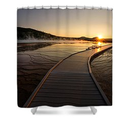 Shower Curtain featuring the photograph Midway Basin Sunset by Dan Mihai