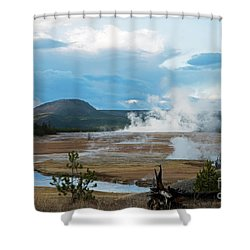 Midway Geyser Area Shower Curtain by Cindy Murphy - NightVisions