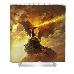 Shower Curtain featuring the digital art Mighty Dragon by Uwe Jarling