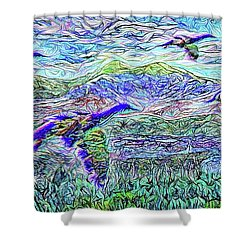 Migrate Beyond The Mountain Shower Curtain by Joel Bruce Wallach