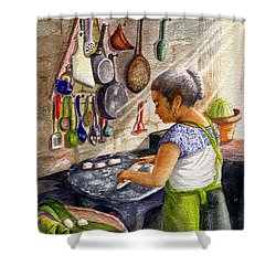 Mika, The Tamale Maker Shower Curtain