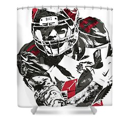 Shower Curtain featuring the mixed media Mike Evans Tampa Bay Buccaneers Pixel Art by Joe Hamilton