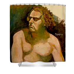 Shower Curtain featuring the painting Mike. by Ray Agius