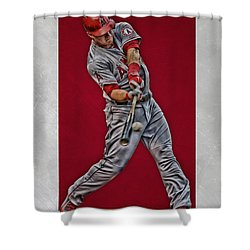Shower Curtain featuring the mixed media Mike Trout Los Angeles Angels Art 1 by Joe Hamilton