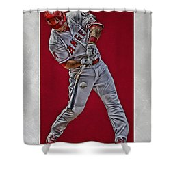 Shower Curtain featuring the mixed media Mike Trout Los Angeles Angels Art 2 by Joe Hamilton