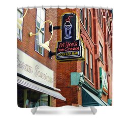 Mike's Ice Cream And Coffee Bar Shower Curtain