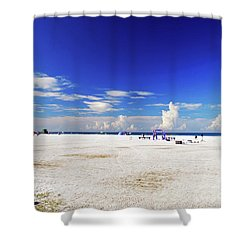 Shower Curtain featuring the photograph Miles And Miles Of White Sand by Gary Wonning