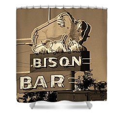 Miles City, Montana - Bison Bar Sepia Shower Curtain