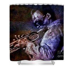 Miles Davis Jazz Legend 1969 Shower Curtain by Ian Gledhill
