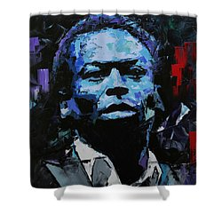 Shower Curtain featuring the painting Miles Davis by Richard Day