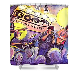 Shower Curtain featuring the painting Miles Guzman Band by David Sockrider