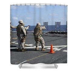 Military Policemen Train Shower Curtain by Stocktrek Images