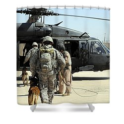 Military Working Dog Handlers Board Shower Curtain by Stocktrek Images