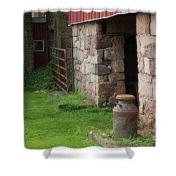 Milk Can At Stone Barn Shower Curtain