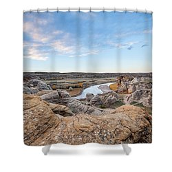 Shower Curtain featuring the photograph Milk River Sun Up by Fran Riley