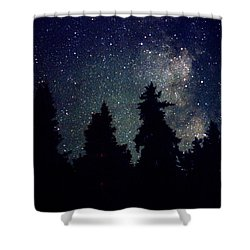 Milky Way Above Northern Forest 22 Shower Curtain by Lyle Crump