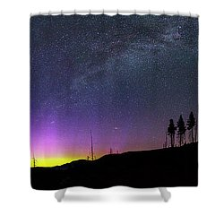 Shower Curtain featuring the photograph Milky Way And Aurora Borealis by Cat Connor