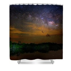 Milky Way Fire Shower Curtain by Mark Andrew Thomas