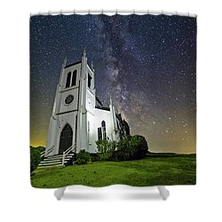 Shower Curtain featuring the photograph Milky Way Over Church by Lori Coleman