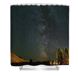 Milky Way Over Farmland In Central Oregon Shower Curtain