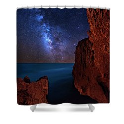 Milky Way Over Huchinson Island Beach Florida Shower Curtain by Justin Kelefas