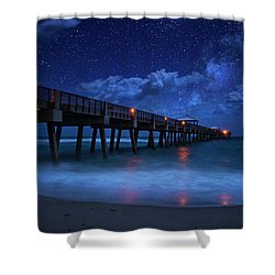 Milky Way Over Juno Beach Pier Under Moonlight Shower Curtain