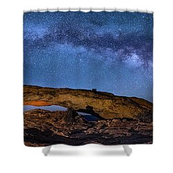 Milky Way Over Mesa Arch Shower Curtain