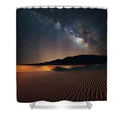 Milky Way Over Mesquite Dunes Shower Curtain by Darren White