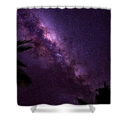 Milky Way Over Mission Beach Vertical Shower Curtain