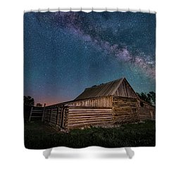 Milky Way Over Moulton Barn Shower Curtain