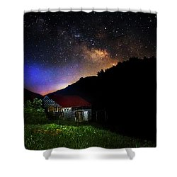 Milky Way Over Mountain Barn Shower Curtain