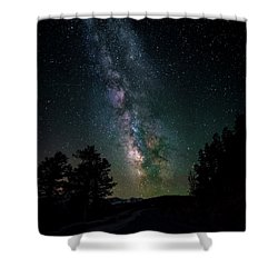 Shower Curtain featuring the photograph Milky Way Over Rocky Mountains by Gary Lengyel
