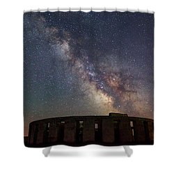 Shower Curtain featuring the photograph Milky Way Over Stonehendge by Cat Connor
