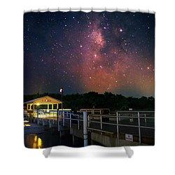Milky Way Over The Sanibel Pier Shower Curtain