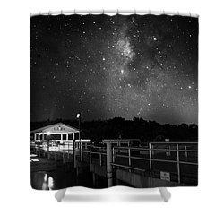 Milky Way Over The Sanibel Pier In Black And White Shower Curtain