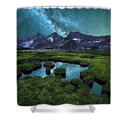 Milky Way Reflection Over The Three Apostles Shower Curtain by Aaron Spong