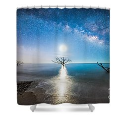 Milky Way Shore Shower Curtain by Robert Loe