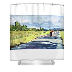 Mill Valley Bike Path Shower Curtain by Colleen Proppe