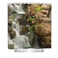 Shower Curtain featuring the photograph Mill Wheel With Waterfall by David Coblitz