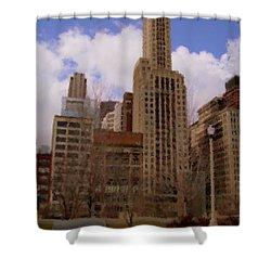 Millenium Park And Bench 1 Shower Curtain by Anita Burgermeister