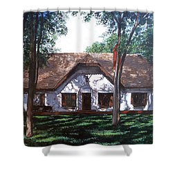Shower Curtain featuring the painting Miller Homestead by Tom Roderick