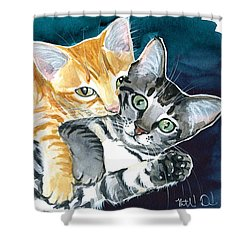Milo And Tigger - Cute Kitty Painting Shower Curtain