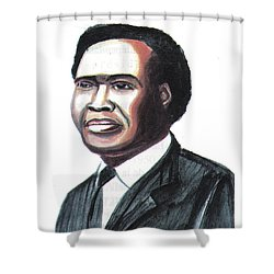 Milton Apolo Obote Shower Curtain by Emmanuel Baliyanga