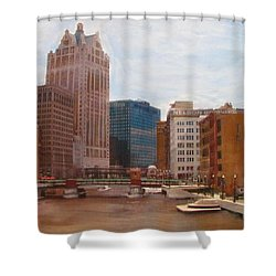 Milwaukee River View Shower Curtain by Anita Burgermeister
