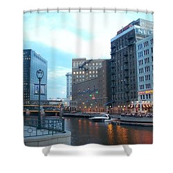 Milwaukee River Walk Shower Curtain by Anita Burgermeister