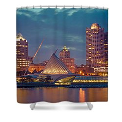 Milwaukee Skyline At Dark Shower Curtain