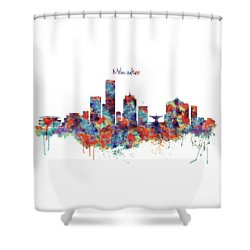 Shower Curtain featuring the mixed media Milwaukee Watercolor Skyline by Marian Voicu