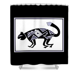 Shower Curtain featuring the digital art Mimbres Mountain Lion by Vagabond Folk Art - Virginia Vivier