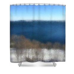 Minimalist Soft Focus Seascape Shower Curtain by Patricia E Sundik