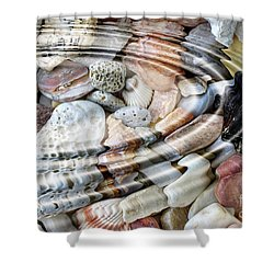 Shower Curtain featuring the digital art Minerals And Shells by Michal Boubin